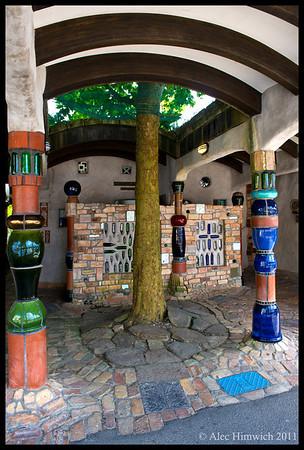 Exterior of the Hundertwasser public toilets in Kawakawa.<br /> <br /> <br /> Kawakawa, NZ<br /> November 19, 2011<br /> 069