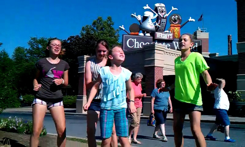 Doing it in Hershey, PA in front of Chocolate World - a place Maddie particularly appreciated.