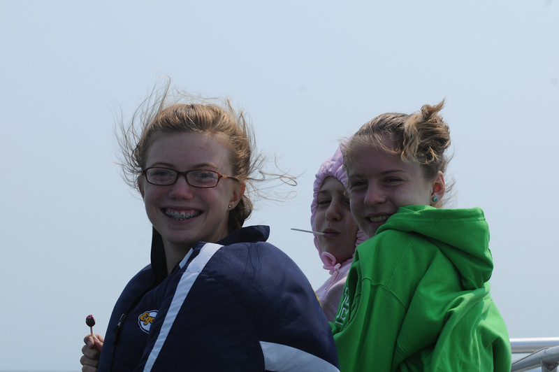 Katie, Kelly and Maddie stood at the bow for quite awhile in roughly 40 mph winds.
