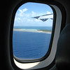 In flight, between Bora Bora and Tikehau. <br /> Approaching Tikehau.
