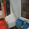 Pull down seats located at certain doors throughout the train. 010411