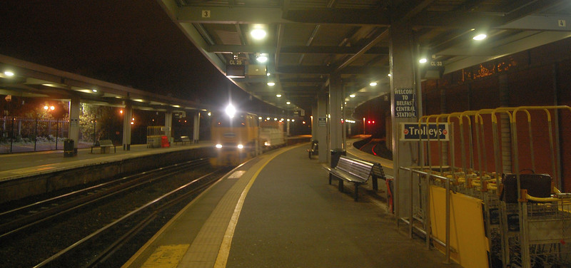 The VMT & Water tank train runs through Belfast Central with the 2140 Portadown/Bangor. This train operates throughout the RHTT season. Normally the Sandite train would follow, but on this night the Sandite was failed before leaving York Road. 021011
