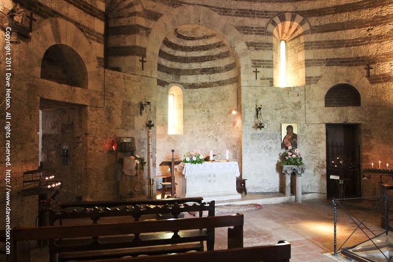 Inside Montesiepi, San Galgano's hermitage