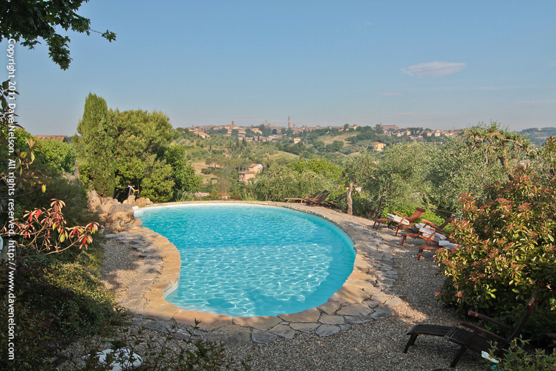 View of the pool at Frances' Lodge with  Siena in the background