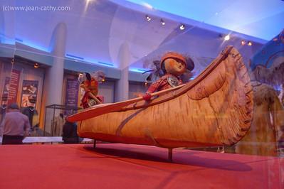 Birchbark canoe model at the Museum of Civilization Ottawa, Ontario (Canada).