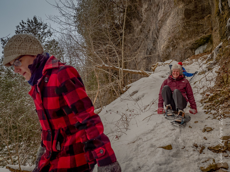 """Snowshoeing"" the cliffs of Elora"