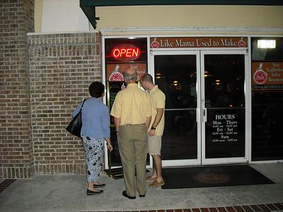 Looking at the menu at Sal's, where we had dinner