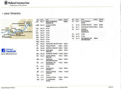 Our route and schedule