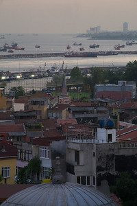 View from apartment, Istanbul. Sokollu Mehmet Pasha Mosque and Sea of Marmara beyond.
