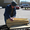 Morning of Day 2, Ely, NV. Preparing ramp wedges to unload bike.