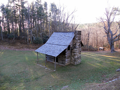One of many reconstructed cabins along the parkway.