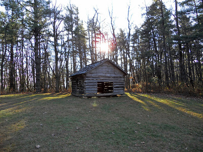 The shelter next to the cabin.  A preacher would travel a circuit of these shelters to preach to isolated mountain communities.