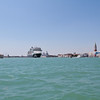 A cruise ship leaving Venice