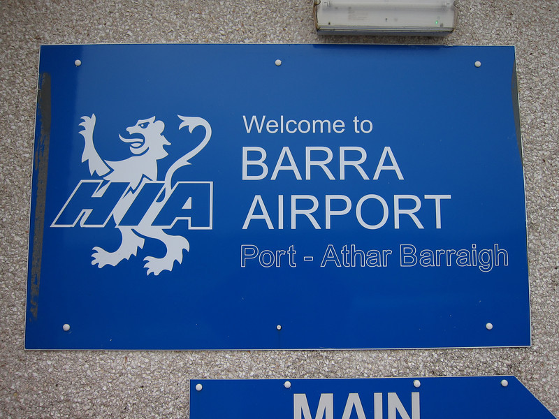 Barra Airport, operated by the Highland Islands Airports group with daily scheduled flights to Glasgow and Benbecula.
