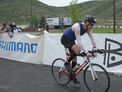 Beginning of the bike leg Boise Ironman 70.3