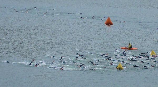 Swim start, 2nd last wave. 53 deg water. Boise Ironman 70.3