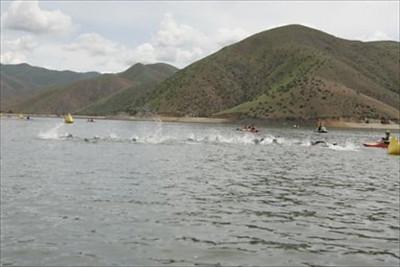 Swim start Boise Ironman 70.3