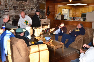 From left clockwise: Dave, Karla, Mark, Steve, Denny, Dave and Dave relaxing on Saturday night at the ranch house.