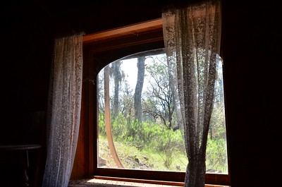 View from inside the bedroom of the cabin.