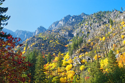 Mountain peaks and the burn area in Tumwater Canyon - lots of beautiful color here.