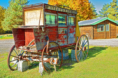 This old stagecoach sits just at the edge of town in Winthrop, WA.