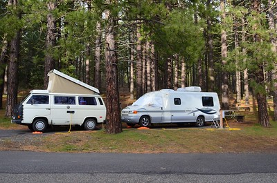 Camped with Bruce in the Westy at Brooks Memorial State Park - we were the only ones there!