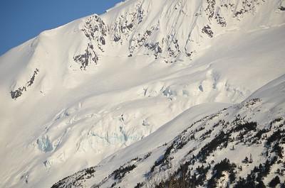 Glacier covered in snow.  Portage Valley, Alaska