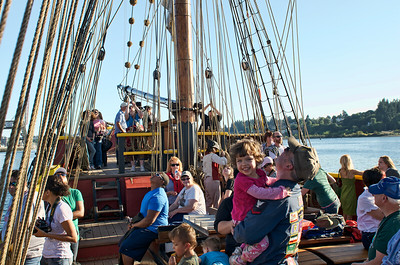 Folks enjoying the evening sail of the Lady Washington out of Olympia, WA