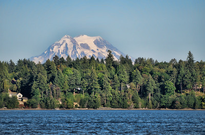 The view of Mt Rainier from Budd Inlet, Olympia, WA