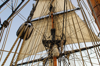 A maze of ropes and pullies as you look up into the sails of the Lady Washington.