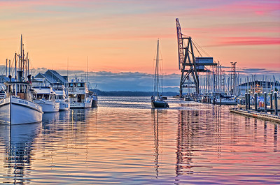 Day's End - Sunset at Percival Landing - Olympia, WA.