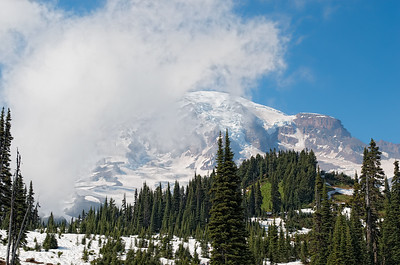 Another view of the mountain from the Paradise area of Mt Rainier National Park.  Never could seem to get all the clouds to move away.