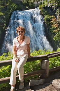 My cousin, Delcie at Narada Falls in Mt Rainier National Park