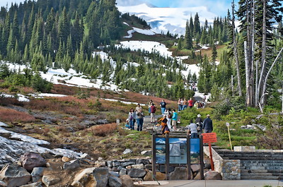 There were plenty of hikers on the mountain even though the trails were still mostly covered with snow.
