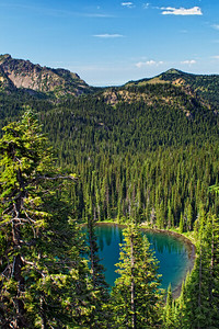 A small mountain lake visible from the Sunrise Point lookout at Mt Rainier National Park