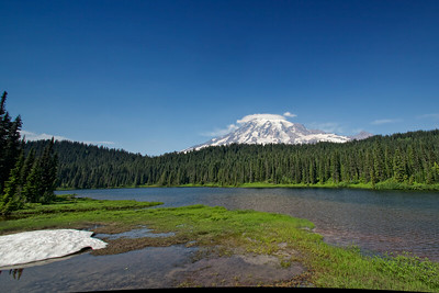 Mt Rainier and Reflection Lake.  Unfortunately too much riffle on the lake for a reflection today.