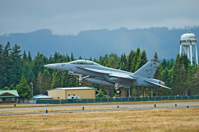 The Boeing F/A-18 Super Hornet take off.