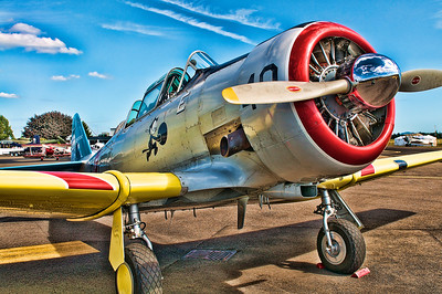 AT-6 Texan - In 1937 the Army Air Corps ran a competition for a basic combat trainer. North American rose to the challenge by introducing a trainer based on the NA-16 prototype. The new prototype, designated NA-26 incorporated a larger WASP engine, a variable-pitch propeller, hydraulic system, and retractable inward undercarriage. The US Army Air Corps ordered 41 of the new aircraft under the designation BC-1 (NA-36). An additional 139 were ordered as instrument trainers under the designation BC-1I. The major production version was the BC-1A (NA-55) of which 92 were ordered, with one being delivered with a redesigned centre-section, the BC-1B. Nine were delivered with a new designation--the AT-6. The initial batch of AT-6s was no different then the BC-1As. 94 were ordered, which included the last nine of the BC-1A order.