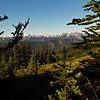 A view into the central Olympic Mountains from on the way to the more accessible eastern ranges where day hiking is possible.