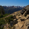 The jumbled rocks of a crumbling Maiden Peak as the trail descends towards Green Mountain and Deer Park.