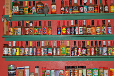 A small sampling of the varieties sold a the hot sauce store in Friday Harbor, WA