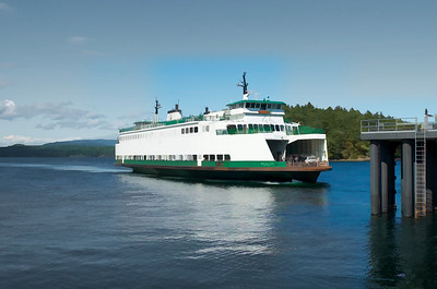 More of an artist rendition of the ferry boat, Sealth arriving Friday Harbor, WA