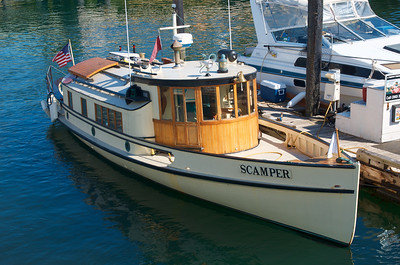 Wooden boat, Scamper, at dock at Friday Harbor, Washington
