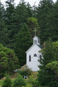 Church on the hill overlooking the Roche Harbor marina.
