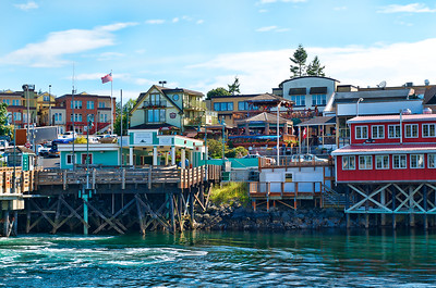 The colorful town of Friday Harbor, Washington near the ferry dock.