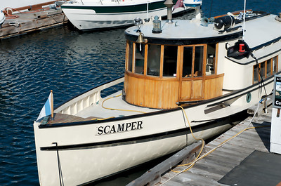An old wooden boat called the Scamper