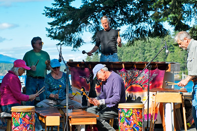 Kubatana Marimba Band plays in the park near the ferry dock at Friday Harbor.  My brother, Bruce is the guy in the back, middle on the base mirimba.