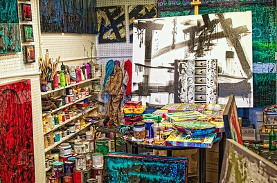This is an artist studio on one of the lower levels of the Pike Street Pubic Market