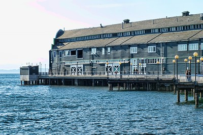 The wharf building that houses the Seattle Aquarium