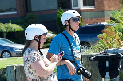 Zach and his mom, Jennifer preparing to go Segway riding.